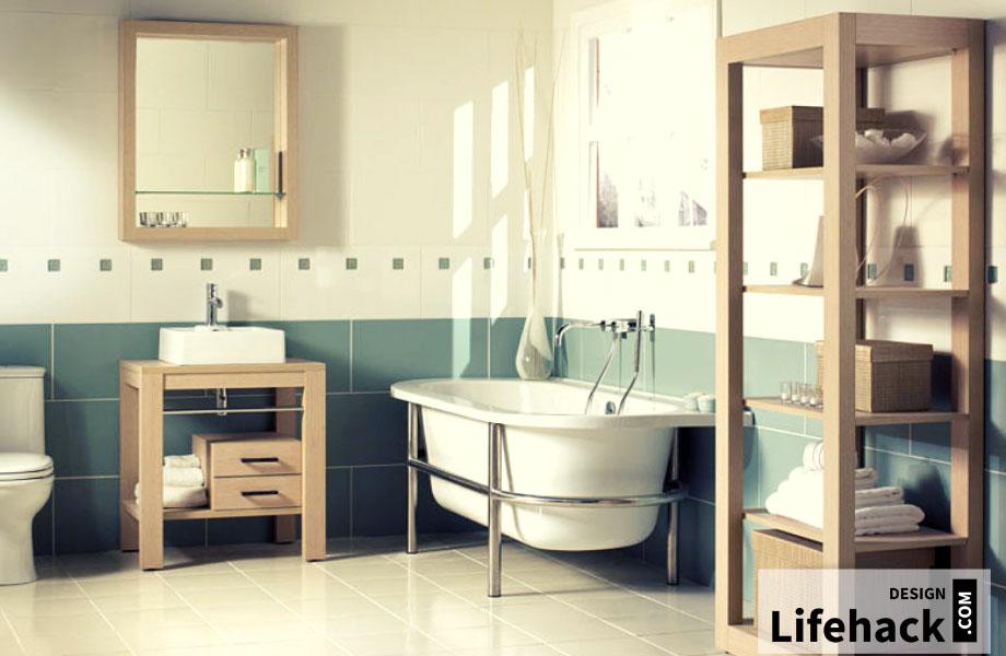 деревянные шкафчики в ванную интерьере