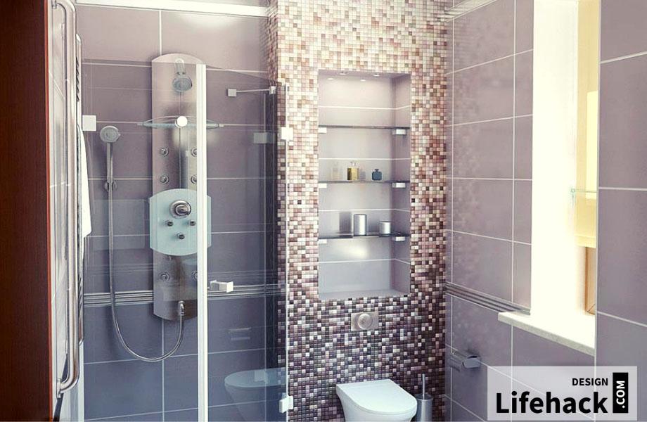 полочки в ванную в интерьере