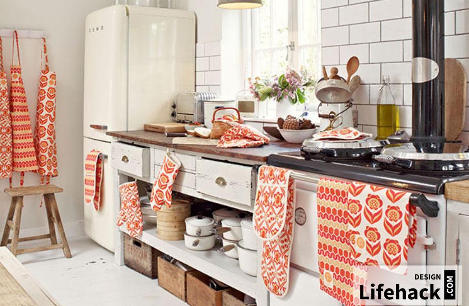 полотенце в интерьере кухня