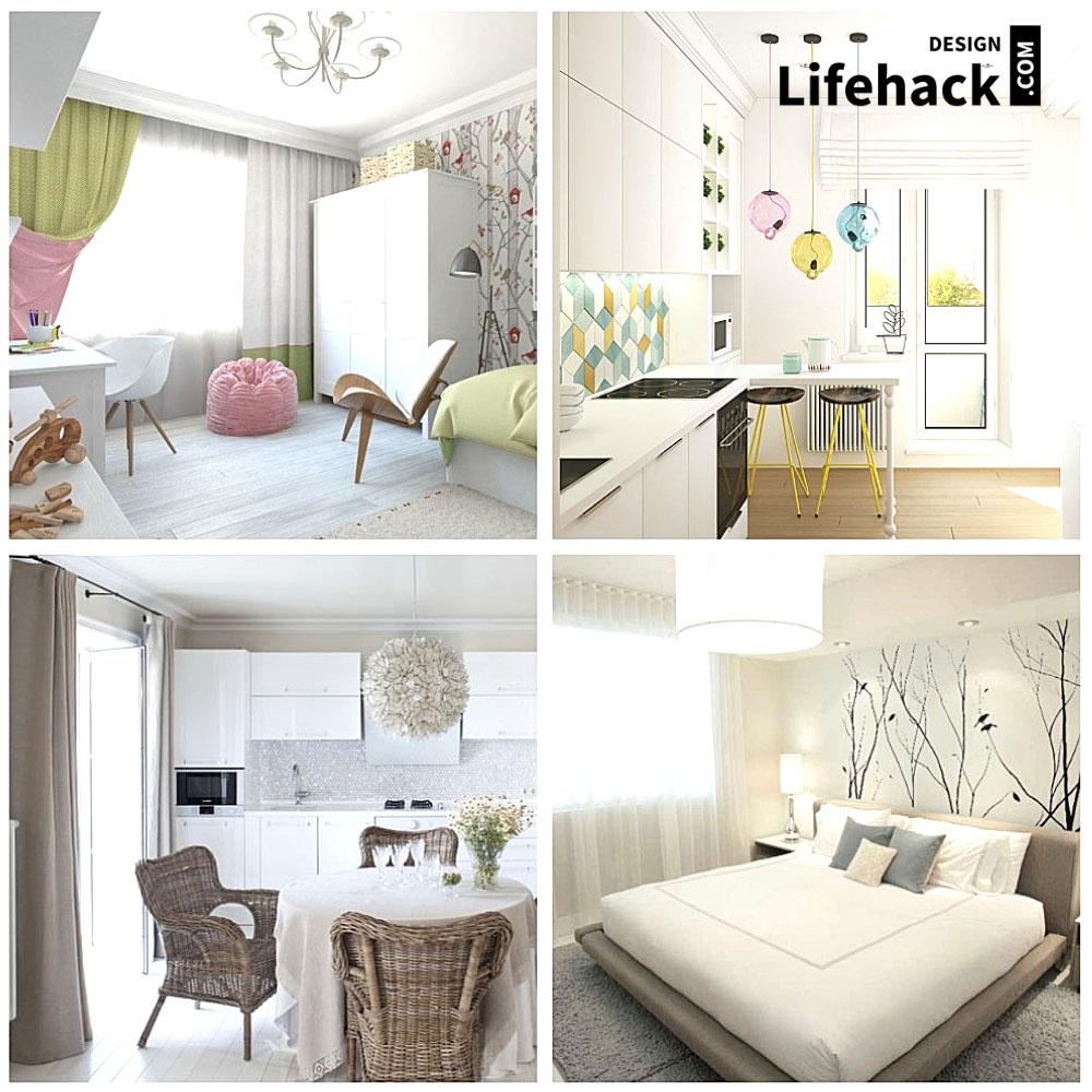 интерьер маленькой комнаты в светлом цвете