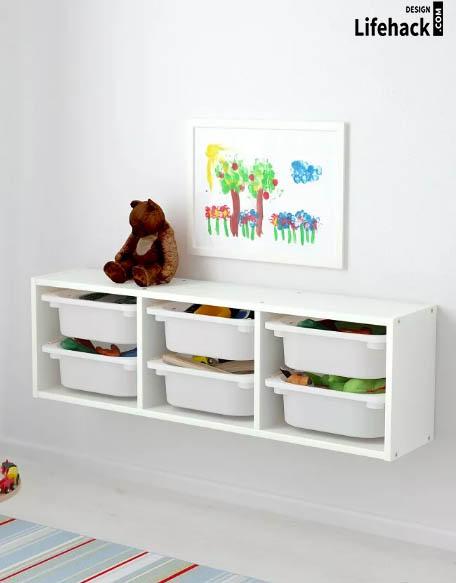 навесные полки для игрушек в детскую в интерьере