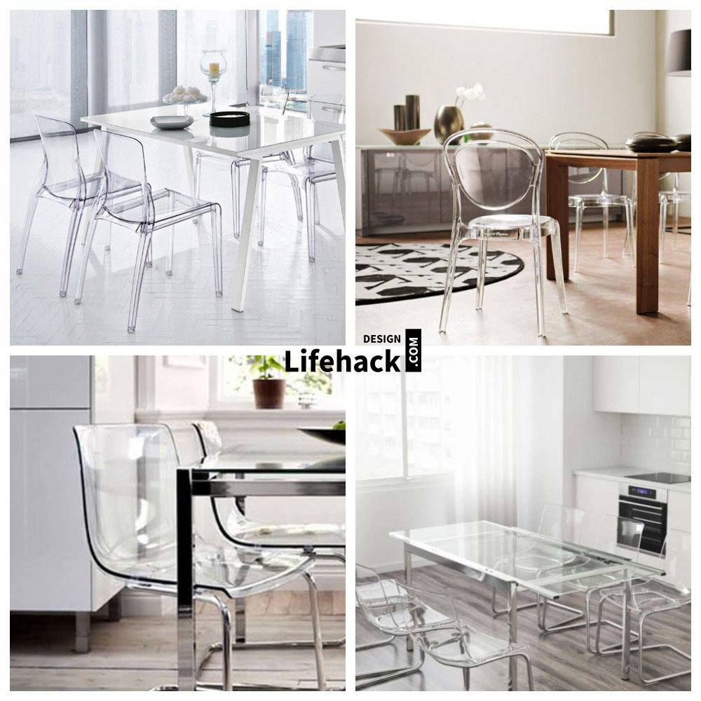 прозрачная мебель в интерьере малогабаритной кухни