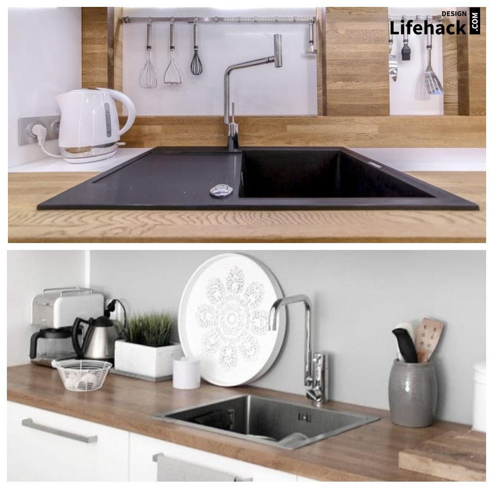 раковина в столешнице кухни в интерьере