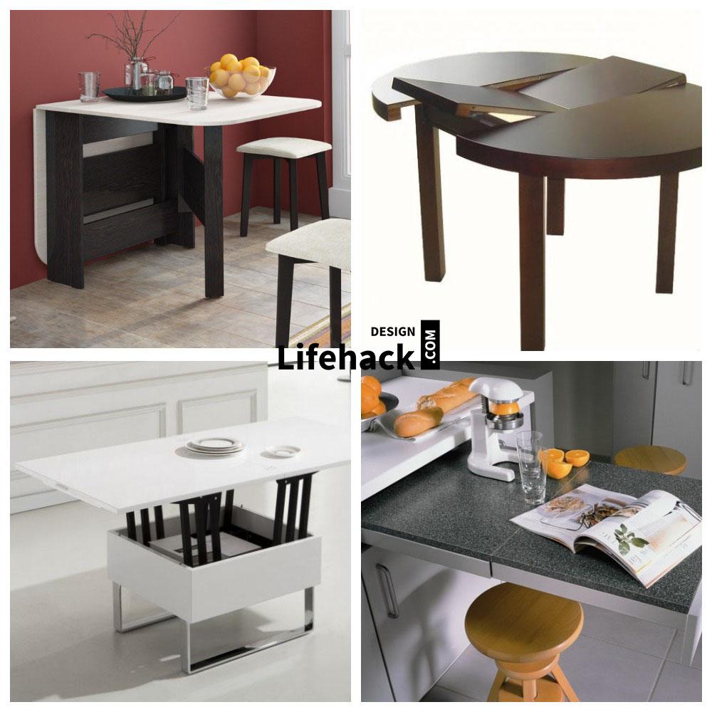 столы трансформеры в интерьере малогабаритной кухни