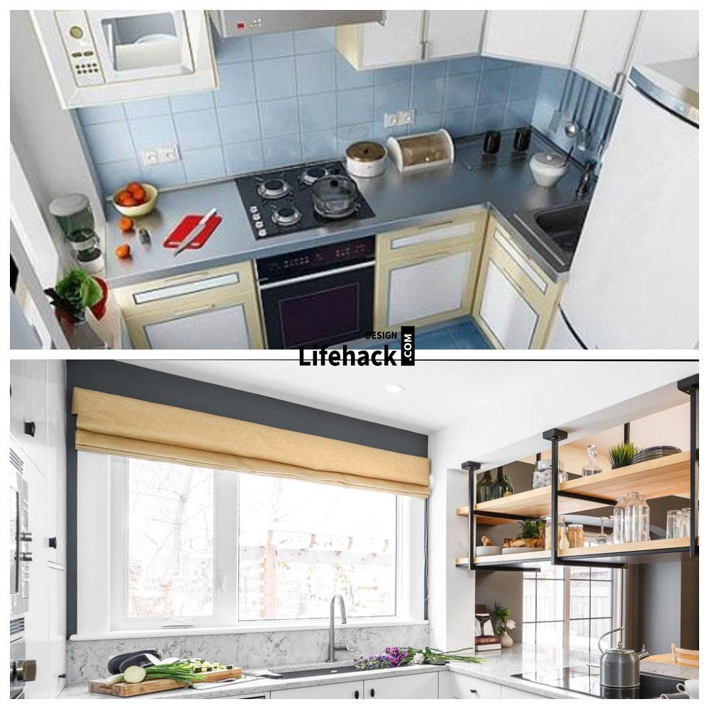 визуально расширить пространство глянцевая малогабаритной кухни